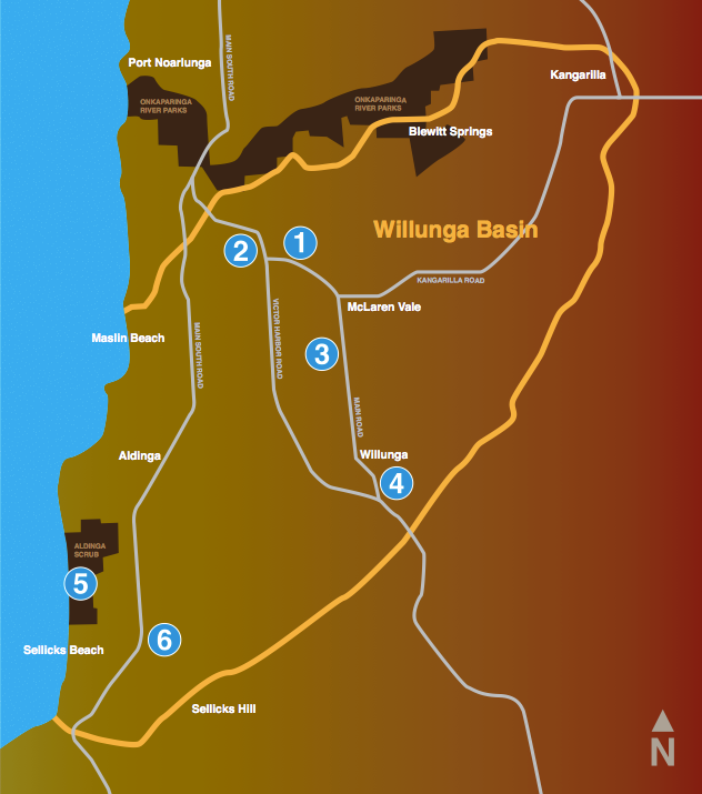 Map of the Willunga Basin show the positions of the signs.